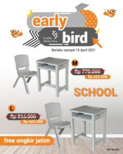 Promo Early Bird Meja Kursi Plastik School Abu Abu